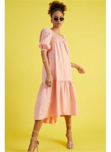 Z Giyim Kadın  Pembe  Ön Arka Yaka Gipeli Elbise Pembe